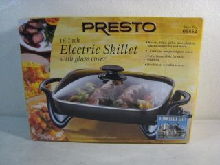 Brand New Presto 16 inch 06852 Electric Skillet with Glass Cover