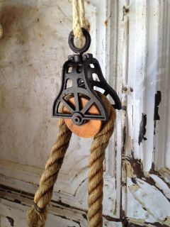 Antique Reproduction Pulley Wood Cast Iron Hanging Vintage Industrial Decor