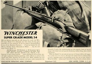1934 Ad Winchester Arms Super Model 54 Hunting Rifle ORIGINAL ADVERTISING