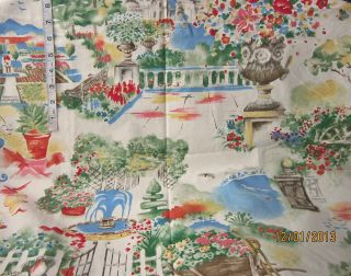 5 yd Toile Garden Picture Print Cotton Fabric Sewing Crafts Quilting