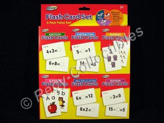 Rose Art 6 Pack Flash Cards Set Math Alphabet Numbers