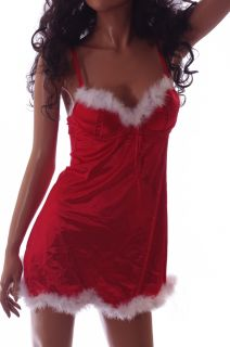 Womens Sexy Mrs Santa Claus Red Fur Outfit Lingerie Dress Nightgown 36B Med New