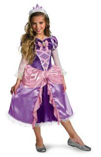 Girls Child Disney Tangled Deluxe Rapunzel Long Blonde Hair Costume