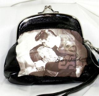 Elvis Presley Small Black Tan Change Coin Purse Wristlet Adorable Brand