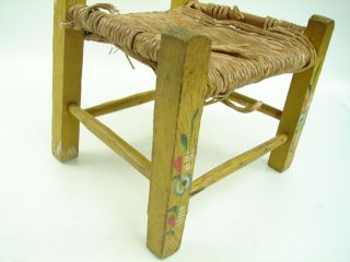 Antique Hand Painted Wood Doll Child's Chair Yellow w Flowers Woven Seat Kids