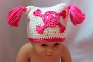 New Cute Handmade Crochet Lael Viking Hat Skull Newborn Baby Knit Hat Photograph