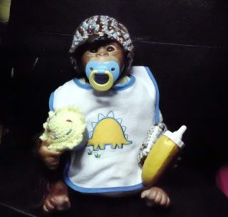 Reborn Chimp Gorilla Monkey Baby Doll Hair Bow Crochet Hat Blanket Handmade