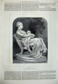 1876 Antique Print Mother Baby Rocking Chair Dalou Art