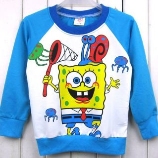 Blue Boy Cotton Spongebob Tops Cute T Coverall Baby Clothes for 3 4Y Size 13
