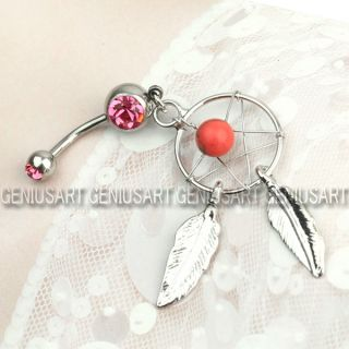 316L Surgical Steel Dream Catcher Dangle Belly Navel Barbell Button Bar Ring Hot