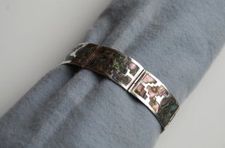 Vintage Los Ballesteros Mexican Sterling Silver Abalone Bracelet Iguala Mexico