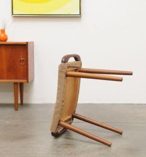 1950s Vintage Danish Modern Teak Stool Chair Ottoman Hans Wegner Mid Century