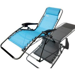 New Strathwood Caribbean Blue Anti Gravity Adjustable Recliner Portable Comfort
