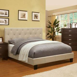 Corbin Modern Style Ivy Finish Flax Fabric Bed Frame Set
