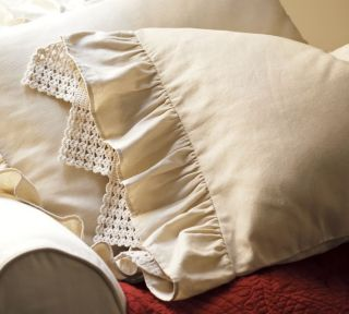 NIP Pottery Barn Linen Ruffle Crochet Standard Pillowcase Natural