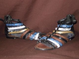Strappy Multi Color Snake Skin Look Back Zip Roman Gladiator Wetseal Sandals 7