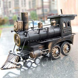 Antique Wrought Iron Steamer Locomotive Toys Art Craft Collection Train Model