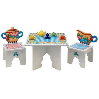 Mary Engelbreit Colorful Wooden Children's Tea Time Table Chairs Kid's Gift