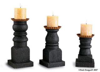 3 PC Set Pillar Candleholder Black Star Collection by Park Designs