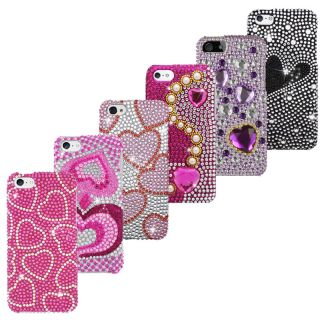 Apple iPhone 5 5S Diamond Bling Rhinestone Case Cover Hearts Pink Screen Guard