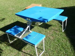 Vtg Portable Travel Camping Kids Camp Folding Suitcase Table Chair Set
