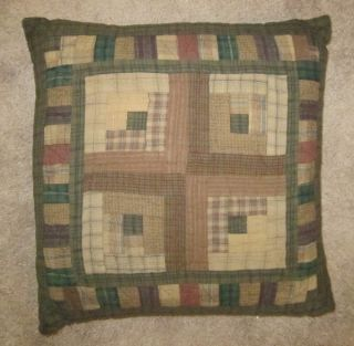 "Country Log Cabin Quilt Pattern Quilted 16"" x 16"" Accent Throw Pillow Tea Dyed"
