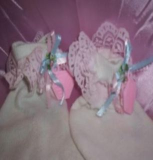 Custom Made Mens Womens Cute Adult Baby Sissy CD Bootie Socks Light Pink Lace