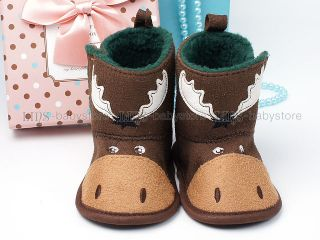 New Toddler Baby Boy Brown Deer Boots Shoes 3 6 Months A853