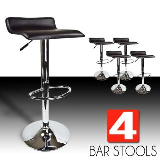 4 New Modern Bar Stool Black Swivel Bombo Chair Pub Barstools Chrome Counter Ale