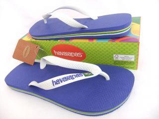 Havaianas Flip Flops Sandals Brasil Logo Marine Blue White Mens Designer