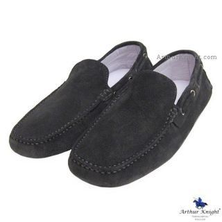 Mens Grey Suede Designer Driving Shoe Moccasins 7 Arthur Knight Anthracite