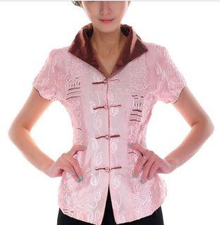 Pink White Chinese Women's Shirt Top Blouse Sz M L XL XXL XXXL