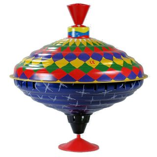 Spinning Top Tin Bolz Large 21cm Humming Harlequin
