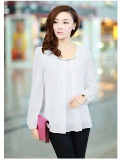 Ladies Womens Chiffon Puff Long Sleeve Crew Neck Causal Loose Tops Blouse Shirt
