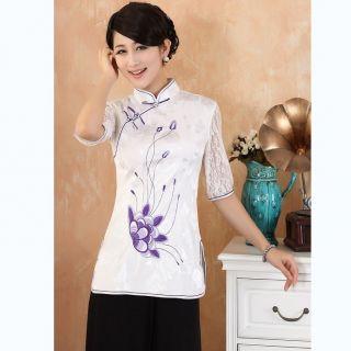 Chinese Women's Tops Shirt Cheongsam White Sz M L XL XXL XXXL