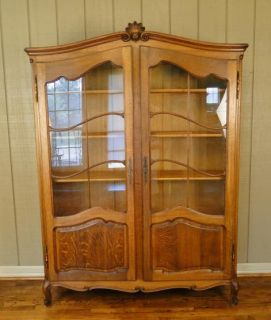 Antique French Bookcase Bookshelf Curio Display Cabinet Carved Divided Glass