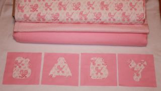 """Pink Baby Carriage Applique Rag Quilt Kit 84 6"""" Squares"""