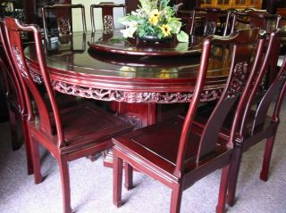 Chinese Oriental Solid Rosewood Dining Round Table Set w Cushions Glass Top