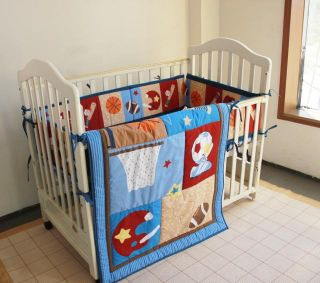 New 3pcs baby boy blue Crib Cot Bedding Set Quilt Bumper Sheet