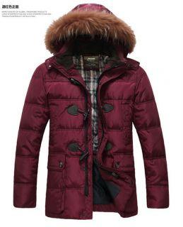 Hot Winter Men's Warm Hooded Fur Collar Long Down Jacket Outerwear Parka Coat