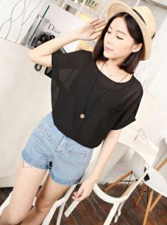 Sexy Women Girls' Chiffon Blouse Sleeve Loose T Shirt Top Sheer Batwing Short