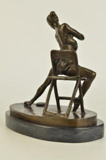 Hot Sexy Girl Posing on A Chair Bronze Sculpture Marble Statue Figurine Erotic