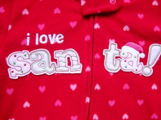 New Girls Holiday Fleece Blanket Sleeper Pajamas PJs 18 Months Love Santa