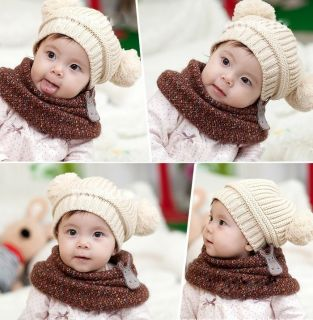 Lovely Baby Hats Girls Boys Two Balls Wool Knitted Caps Toddlers Baby Clothes