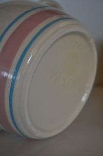 McCoy Pottery Jar 1241 with Handles Made in USA White Pink Blue Stripe