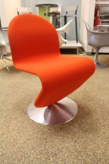 System 1 2 3 Dining Chair Orange Red Fabric Verner Panton Design Within Reach