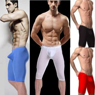 1x Sexy Men Man Spun Yarn Underwear Boxer Half Shorts Pants Black Nude Red White