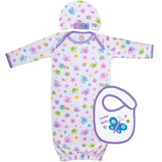 Funkoos Newborn Infant Butterfly 3 Piece Garden Baby Layette Clothing Gift Set