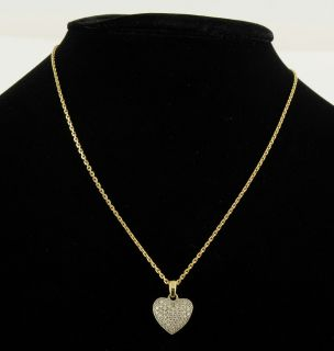 FBM 18K Yellow White Gold Diamond Pave Filigree Heart Pendant Cable Necklace