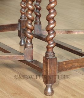 Antique Solid Oak Jacobean 4 5ft Gateleg Barley Twist Dining Table c1940 P112